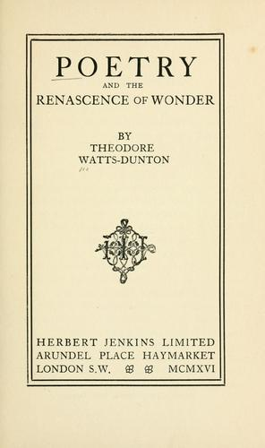 Poetry and the renascence of wonder