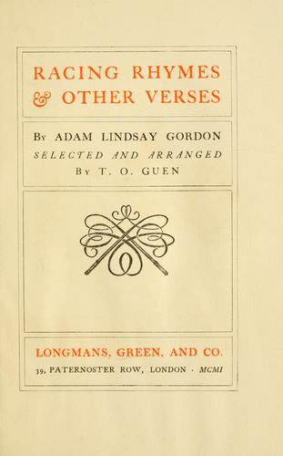 Racing rhymes & other verses by Adam Lindsay Gordon