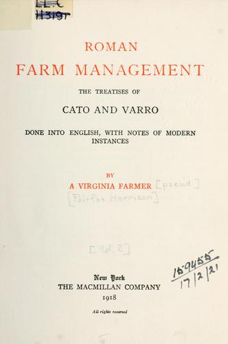 Roman farm management by Harrison, Fairfax