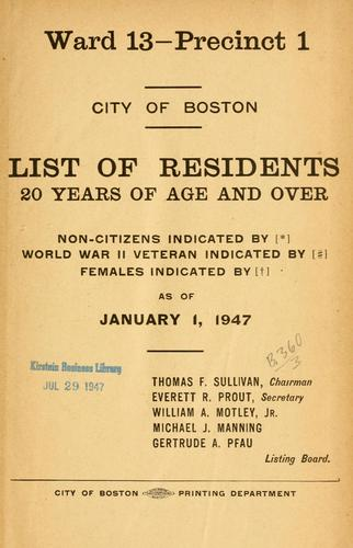 List of residents. [title may vary] by Boston (Mass.). Election Dept.