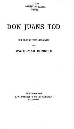 Don Juans Tod by Bonsels, Waldemar