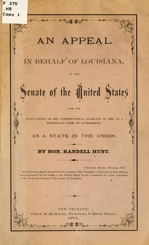 An appeal in behalf of Louisiana by Hunt, Randell