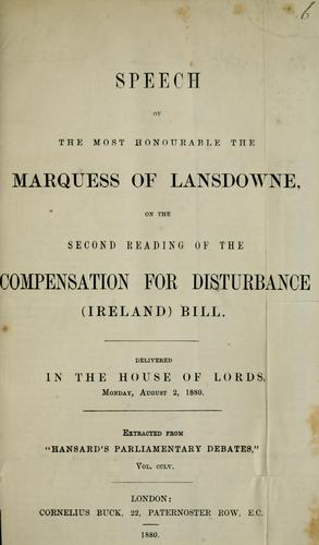 Speech of the most honourable the Marquess of Lansdowne by Lansdowne, Henry Charles Keith Petty-FitzMaurice Marquess of