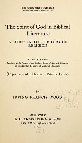 The spirit of God in Biblical literature