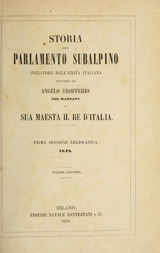 Storia del parlamento subalpino by Angelo Brofferio