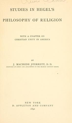 Studies in Hegel's Philosophy of religion