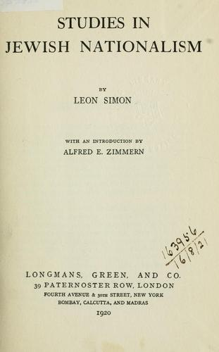 Studies in Jewish nationalism by Leon Simon