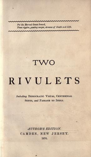 Two rivulets by Walt Whitman