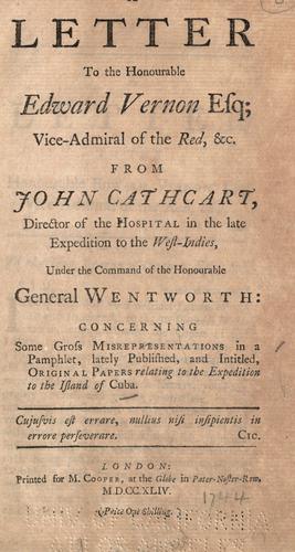 A letter to the Honourable Edward Vernon esq by John Cathcart