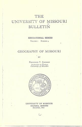 Geography of Missouri by Frederick V. Emerson